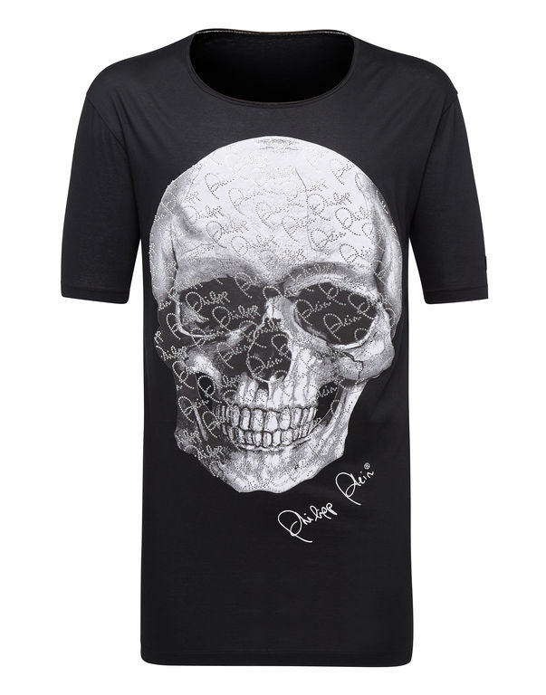"Philipp Plein T-shirt Black Cut Round Neck ""Always"" – Polo Homme – Noir"